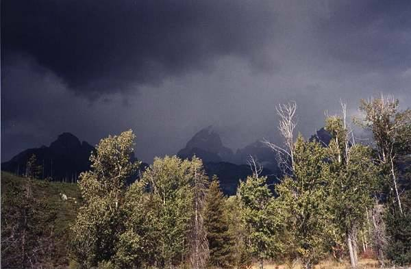 Summer storm on the Grand!<br> ...as seen from Climbers Ranch.<br>
