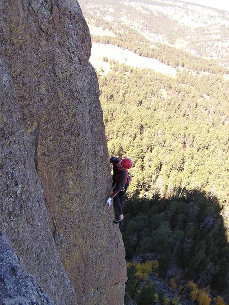 Climber on the 2nd pitch of Everlasting...