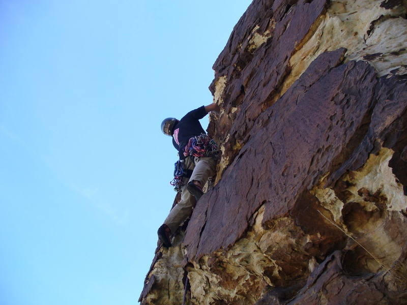 "First ascent of ""Hugh's Banner"" (Named after Hugh Banner of HB Climbing fame who died of cancer on the same day)."