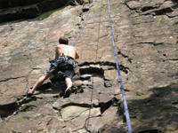 At the first crux go to the left.  The undercling on the left sets you up much better...