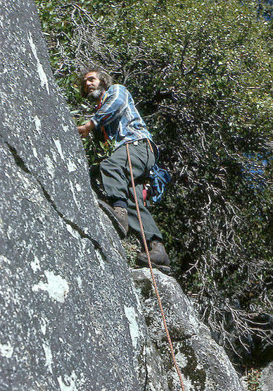 The late Warren Harding climbing difficult class 4.<br> Photo by Blitzo.