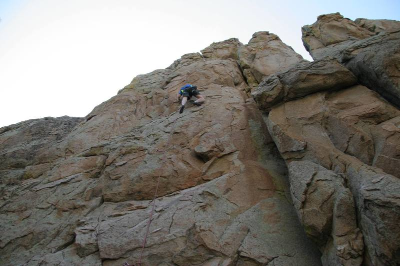 Chris in the middle of the crux of Claim Jumper