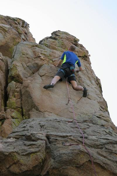 Chris on the final exposed section of One Armed Bandit.