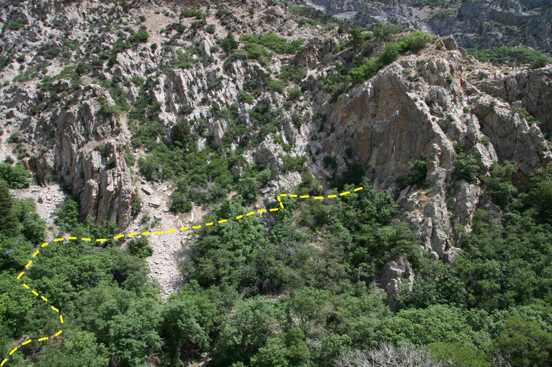 Approach for <em>P.A.'s Mother</em>.<br> Use the trail from <em>[[105739845]]</em> rather than slogging up the heinous talus directly below <em>P.A.'s</em>.