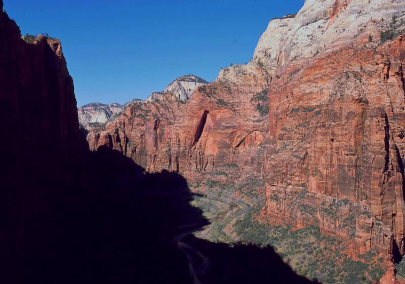 The view up-canyon from 1/2 way up 'Prodical Son (IV, C2)' in Zion National Park. Photo by Tony Bubb, 3/2004.