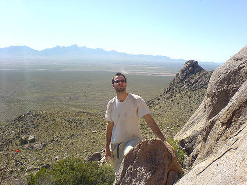 This is at checkerboard wall in the dona anna mountains in s. new mexico. it was a warm day and a very hard hike in.
