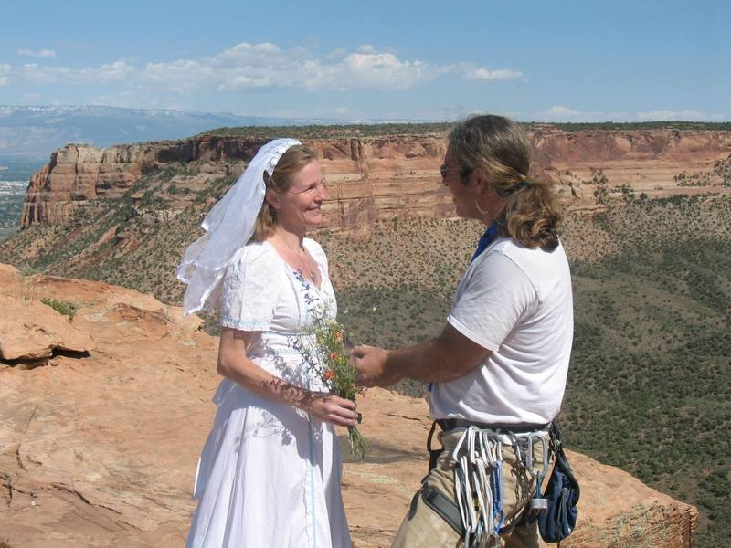 Peter and Patty marrying at the top of Independence Monument after climbing Otto's Route on May 8, 2007