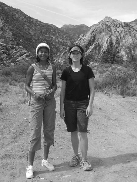My power hiking buddies April, and Holly on Rocky Gap Road in Red Rock. Great spirits! <br> <br> Now if I can only talk these athletic girls into climbing! They think climbers are a little, you know....crazy.
