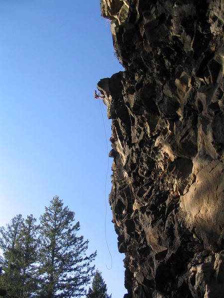 Dream Wall:  Preparing to rap from In the Flow, 5.10c