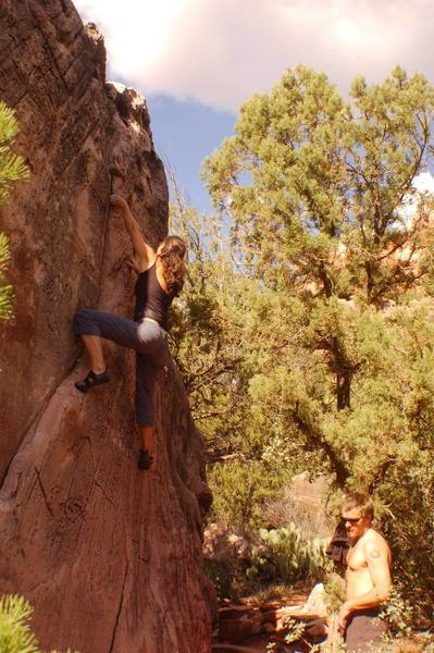 Nuria sampling some fine sandstone bouldering.