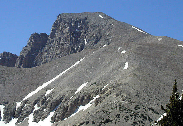 Wheeler Peak. The trail goes up the right shoulder.<br> Photo by Blitzo.
