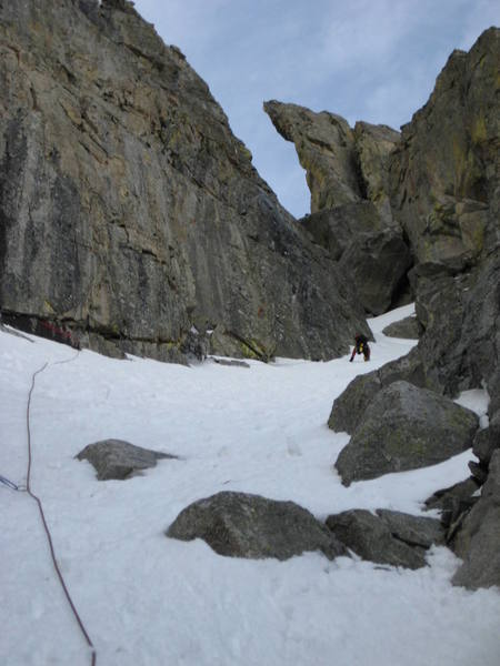 Dougald kicking steps at the top of Pitch 2.