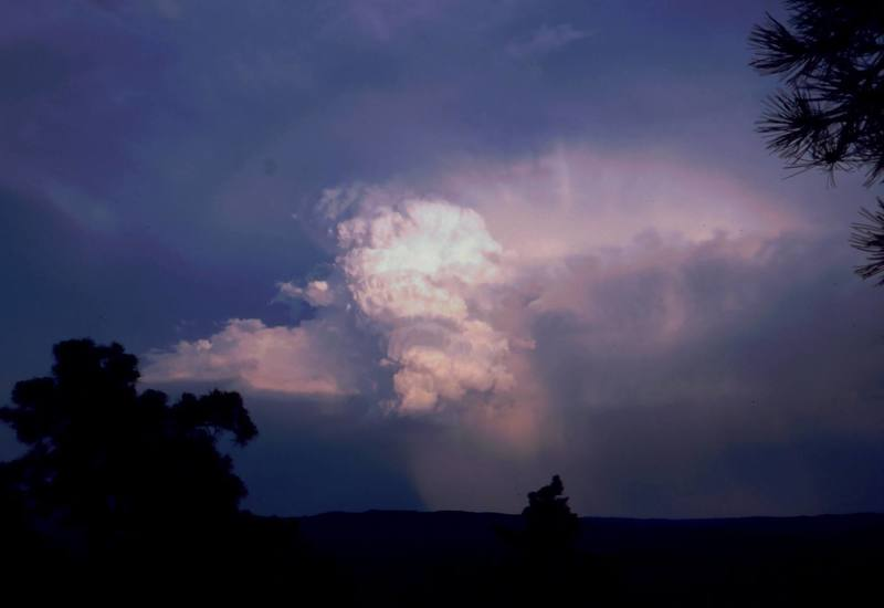As with the rest of the Northern Plains, the Devil's Tower area can be subject to sudden and violent storms. This was a hint that it was time to go hit the bar... Photo by Tony Bubb 7/01.