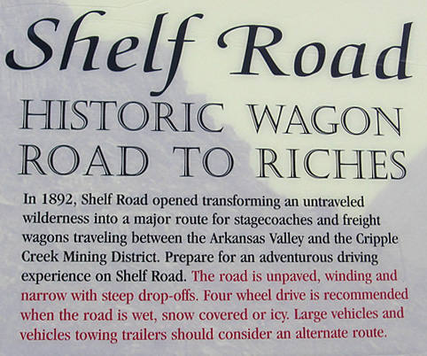 Historical signage where Shelf Road begins at Cripple Creek.