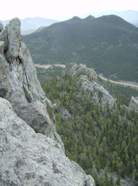Looking at the backside of the First Butress and the park road from the summit ridge. The walkoff was very nice.