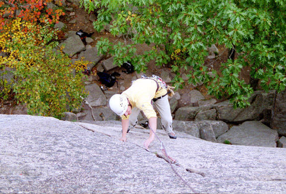 Chris cruising the arching crack on Wafer Step, 5.5.