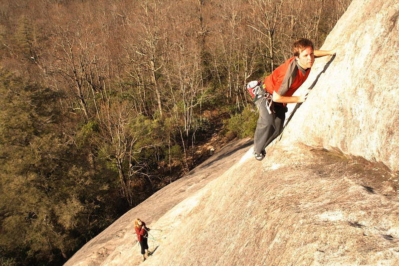Mark Willey moving past first crux.