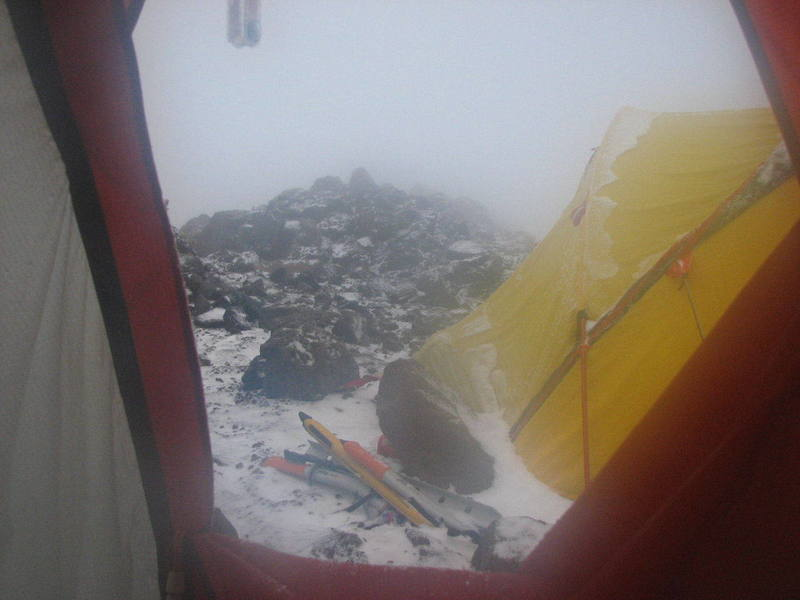 The view out my tent door on Mt. Shasta's Hotlum/Bolam route on 6/5/07<br> 9600Ft.<br> Photo by: Andy Tretiakoff