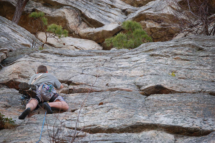 Dave Merle nearing the optional belay.