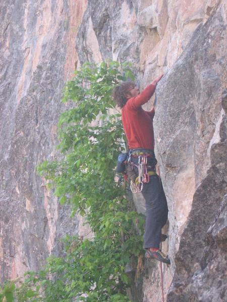 Reaching for a sloper on this 10c at Rifle. A fun and realtively easy route as far as Rifle standards are concerned.