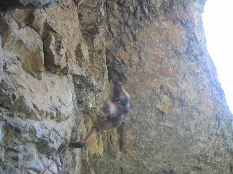 SteveO falling off a 11d. This was a common sight on our first trip to Rifle. We need to get stronger!