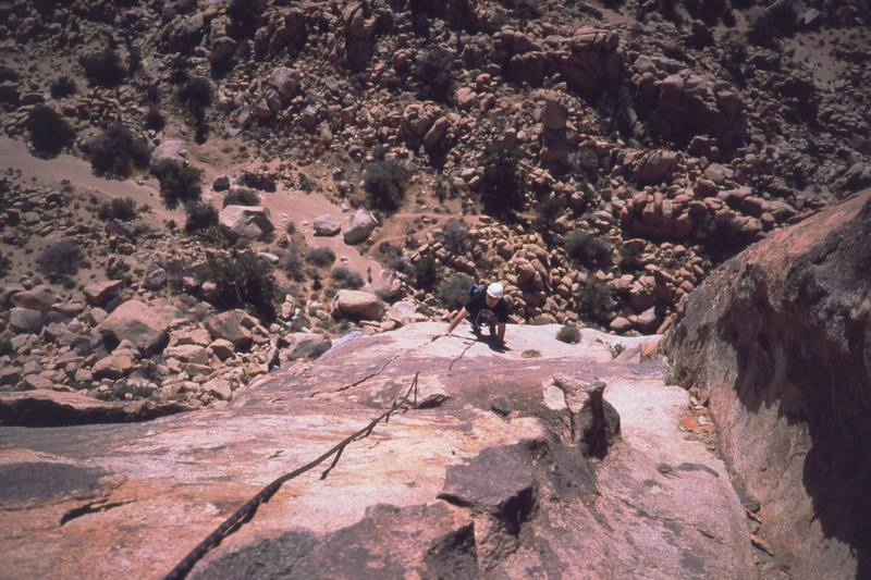 Patrick Walters follows on 'Mare's Tail' (5.9+), a great climb in the Lost Horse area. Photo by Tony Bubb, 2003.