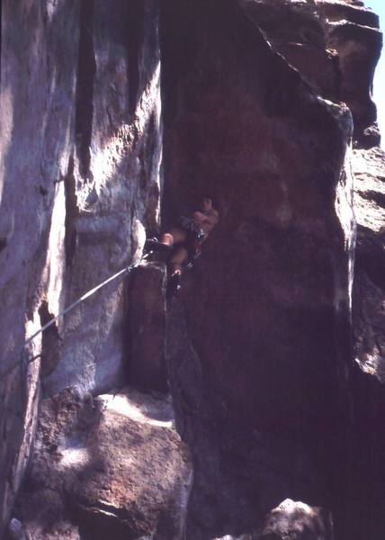 Tony Bubb under the roof while they lower the lights for the cheap afternoon show on 'Matinee' (10d) at the Gunks. Photo by Michelle Moffat, 9/03.