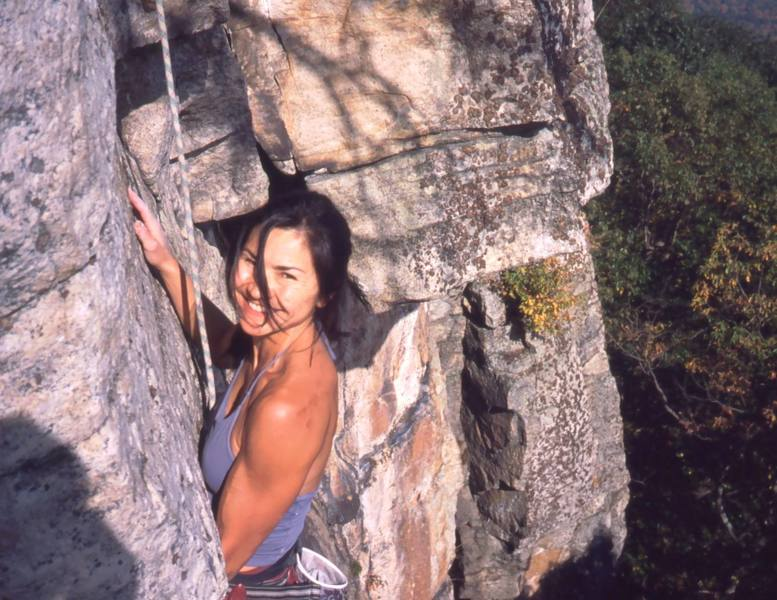 Michelle Moffat, an occasional partner I just seem to run into now and then- at The Gunks, Red Rocks, Eldo, Indian Creek, etc. Photo by Tony Bubb, 10/03, on 'Matinee' in the Gunks.