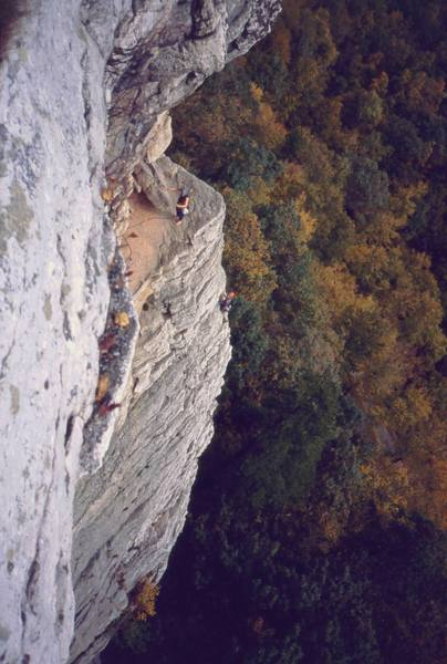 A few unknown Gunks climbers getting 'High Exposure' (5.6!) in the Traps. Photo by Tony Bubb, 10/03.