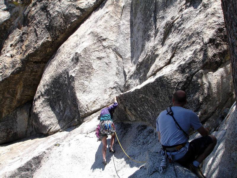 Kim at the slabby start of LST; belayed by Brett. Fun climb!<br> <br> Taken 6/14/07