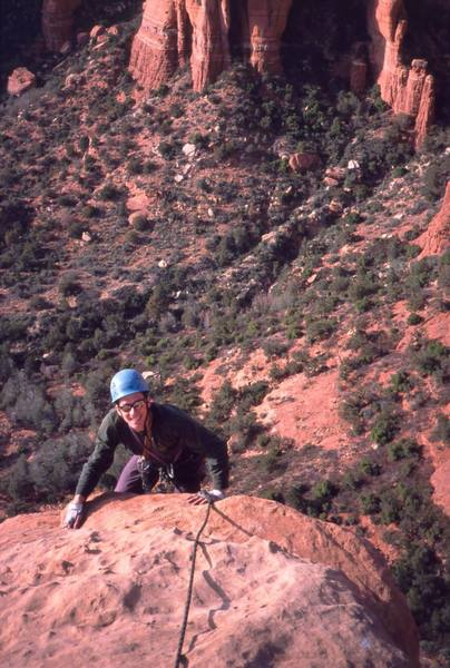 Chris Parks finishes up on the summit Pitch of 'Dr Rubo's Wild Ride' (10a) at Sedona. Photo by Tony Bubb, 12/03.