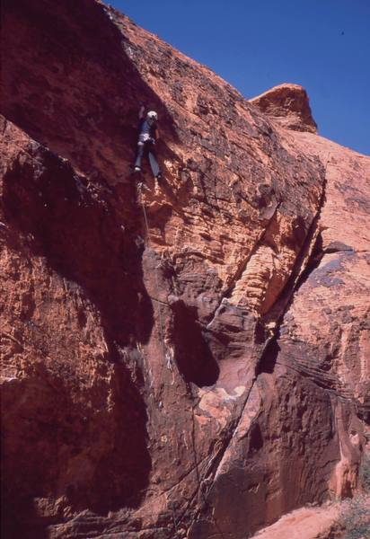 Michelle Moffat follows 'Pain In The Neck' on Sweet Pain Wall, in Red Rocks. Photo by Chris Parks, 1/04.