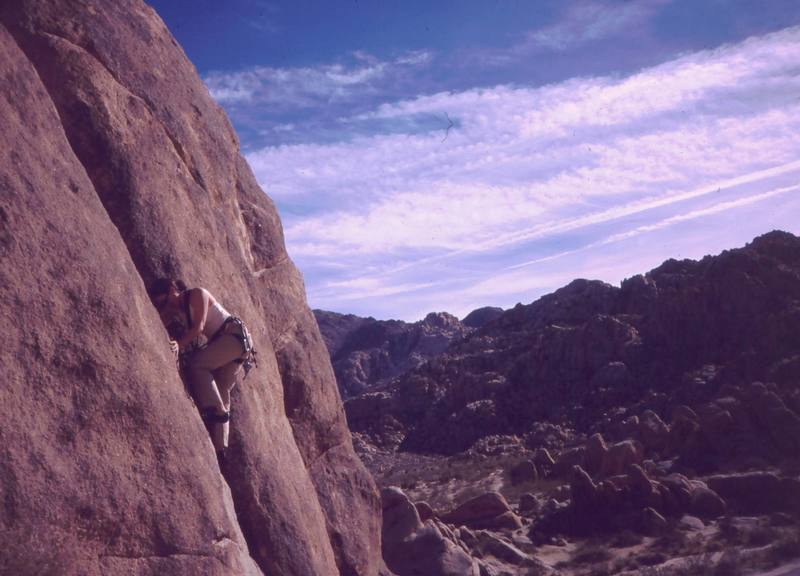 An unknown climber on 'We Dive at Dawn' in Indian Cove. Photo 12/04 by Tony Bubb.