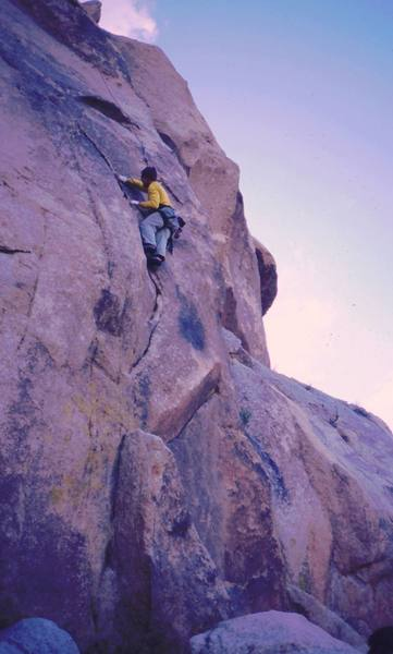 Chris Parks starts up 'Toxic Avenger' (10b) on Condor Rock in Indian Cove. Photo by Tony Bubb, 1/05.