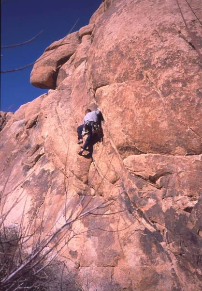 Chris Parks on Report all Gunshot Wounds (5.10 S) at the Corral Wall. Photo by Tony Bubb, 1/0.