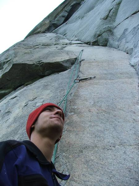 Chad Umbel below the second pitch of The Glass Megagerie 5.12+. Sent it second go.
