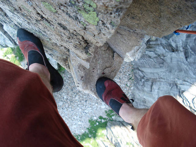 Exposure anyone... looking about 400 feet down from the pipe pitch crux...