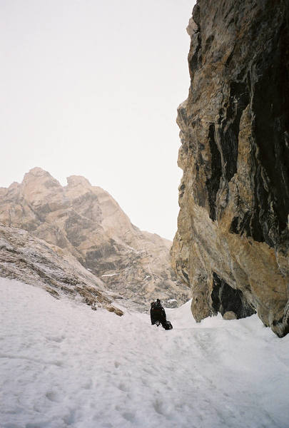 Joe Mucci ascending the Stettner Couloir in route to the Chevy & the Ford to the summit.  May 2005
