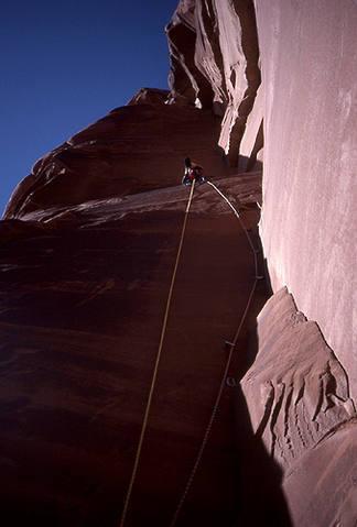 Dave Evans high on the Ewetopian Crack.  Pitch 3.  Photo: Todd Gordon