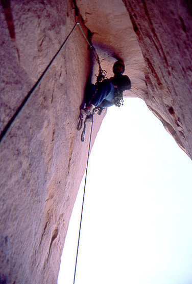 Todd Gordon on the double Overhang pitch 4.  Photo; Todd Gordon Collection.