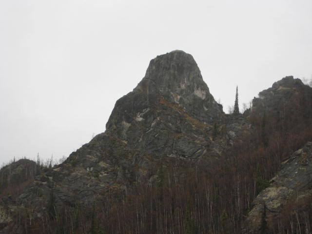 Main Rock formation; this tower holds the majority of routes in the area which can be toproped or led with gear.