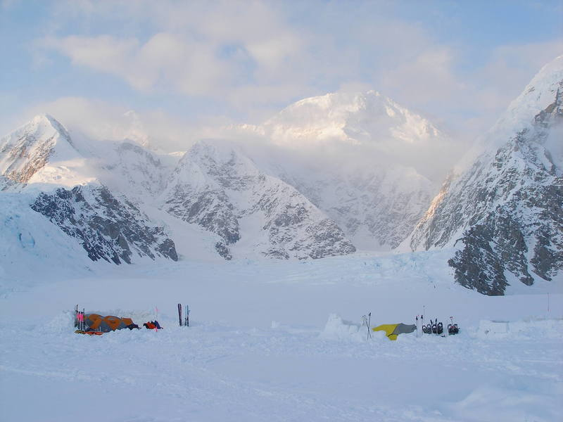 Advanced Base Camp, 6,800 feet, and the view up the Northeast Fork of the Kahiltna Glacier with the west side of Denali in the background.