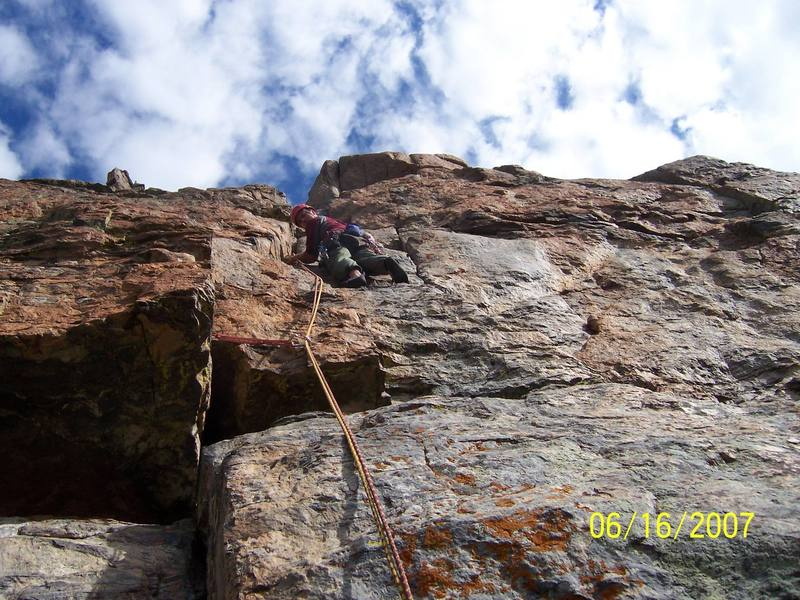 beginning the crux pitch