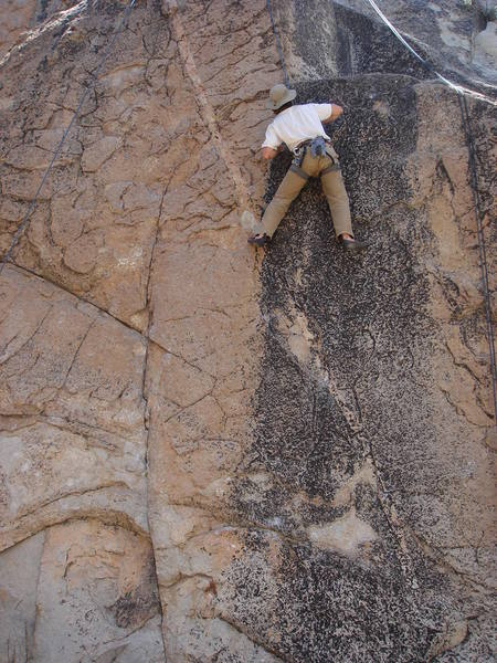 Tom Donnely above the crux of Motherload.