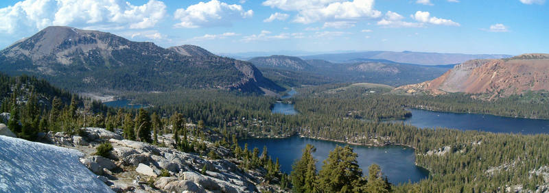 The view from the base of Crystal Crag with the Mammoth Lakes below and Mammoth Mountain to the left, Mammoth Lakes Area