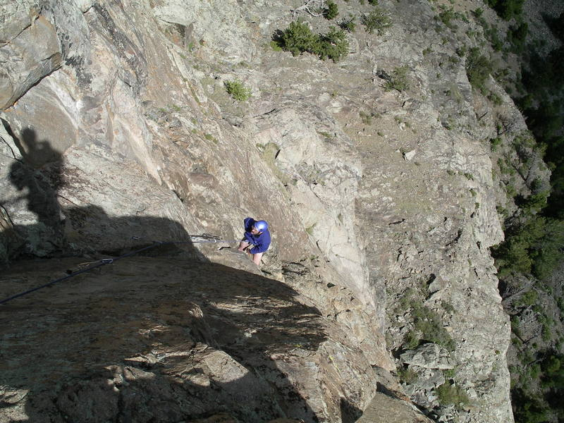 Looking down the crux pitch, Priceless.