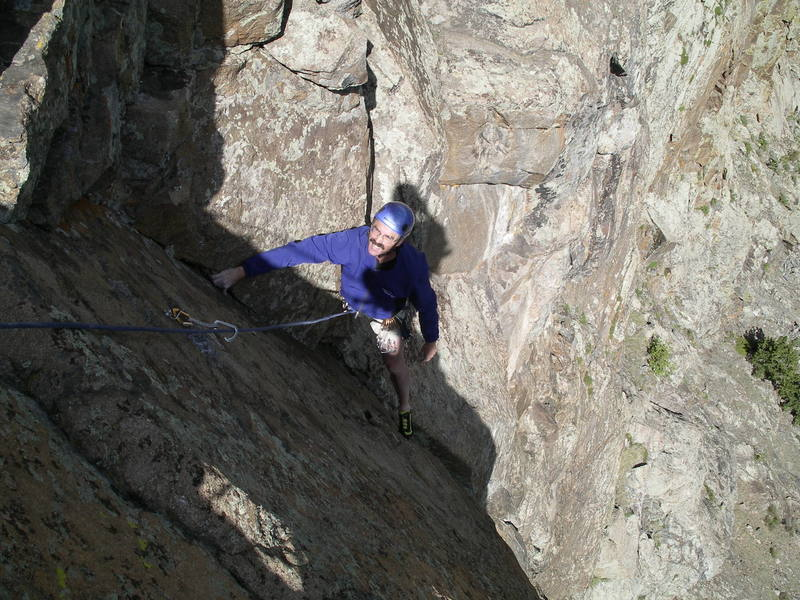 Nearing the end of pitch 2, with some wily moves at the last bolt.