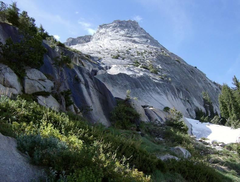 Tenaya Peak.  Getting closer.  Just before crossing snowfield runoff.  June 2007. (It was a lean winter.)