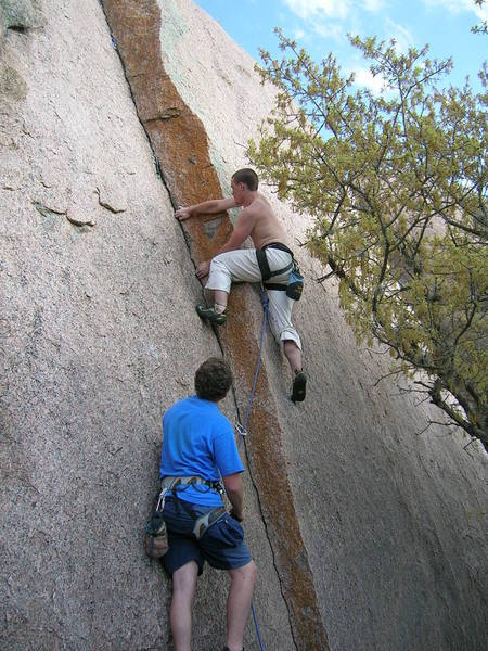 Greg and I, trying Orange Peel Trad. It requires small/micro stoppers, tri-camp, and cams. It gets easier after the first 25-ish feet.