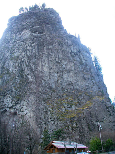 The mostly forbidden north and east faces of Beacon rock from the parking lot.